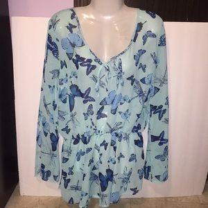 Nobo sheer light teal blue butterfly top. Size XL.